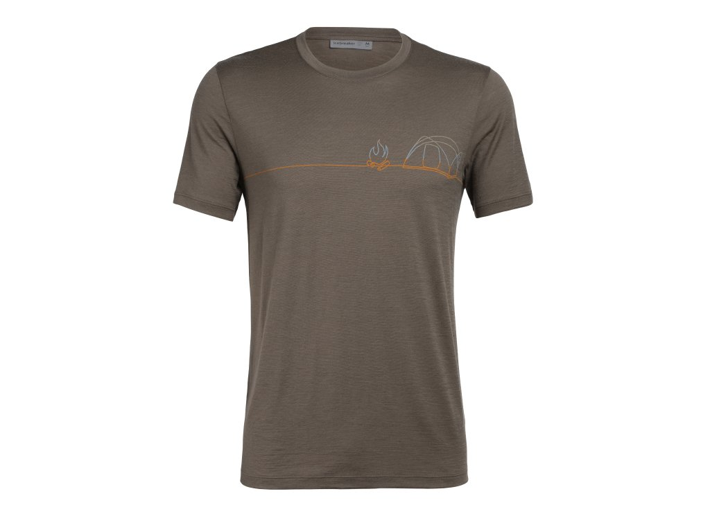 ICEBREAKER Mens Tech Lite SS Crewe Single Line Camp, DRIFTWOOD (velikost XXL)