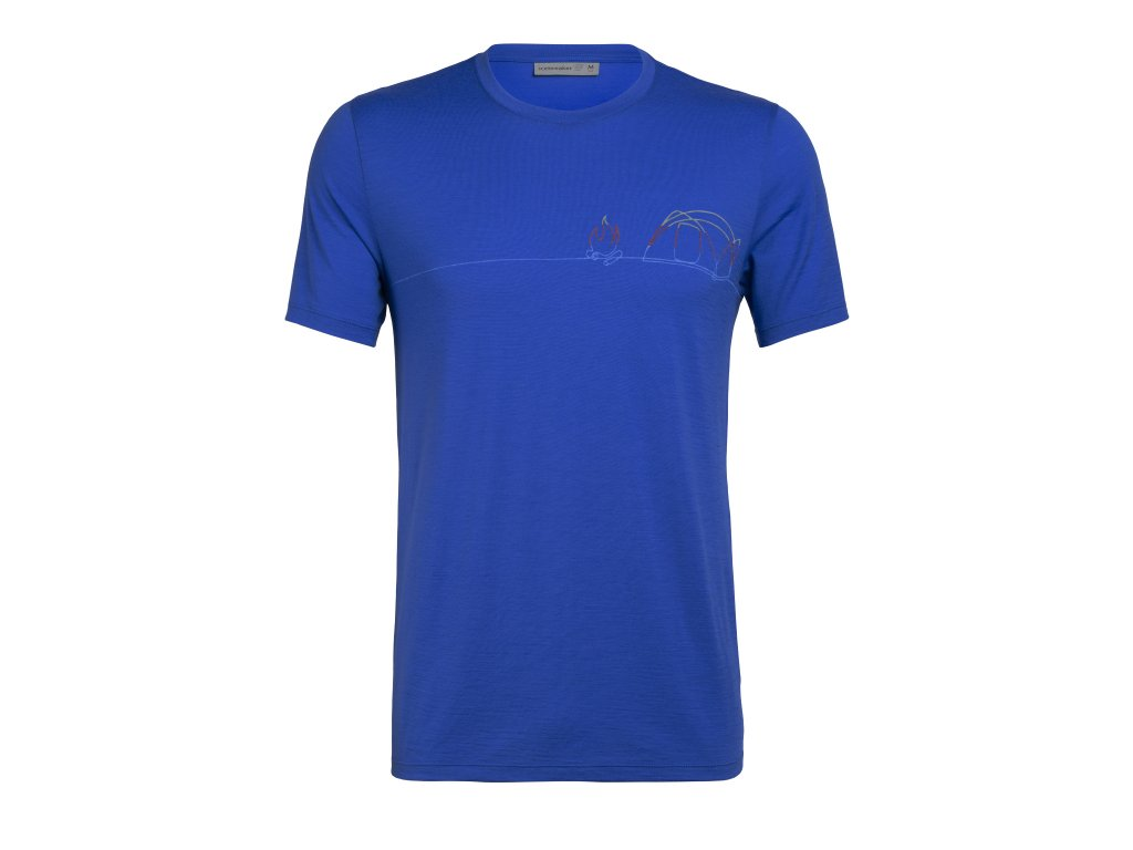 ICEBREAKER Mens Tech Lite SS Crewe Single Line Camp, Lapis (velikost XXL)