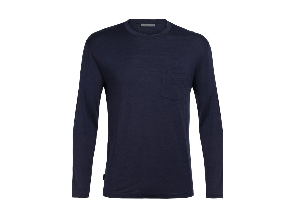 ICEBREAKER Mens Ravyn LS Pocket Crewe, Midnight Navy (velikost XXL)
