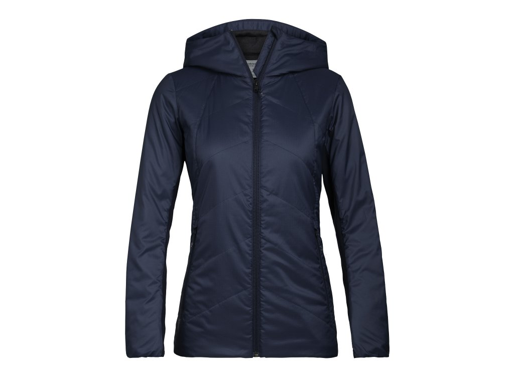 ICEBREAKER Wmns Helix Hooded Jacket, Midnight Navy (velikost XS)