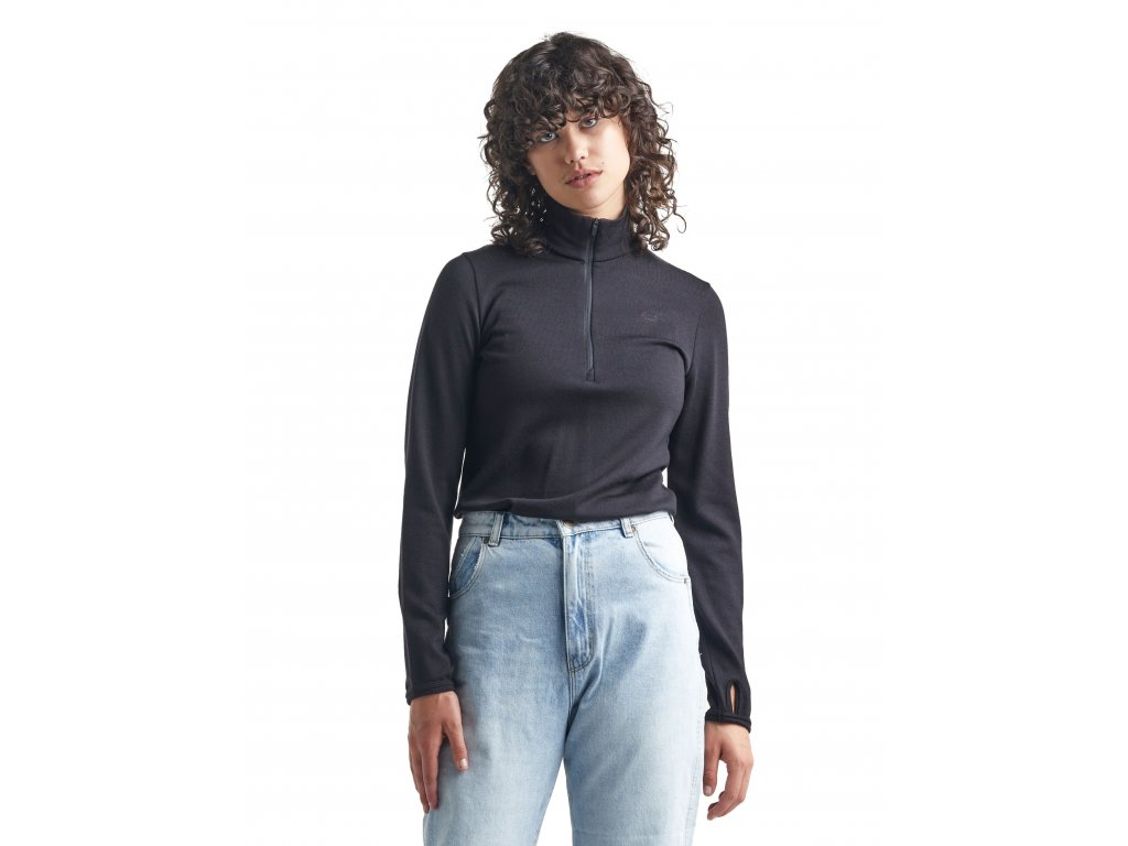 SS21 WOMEN ORIGINAL LS HALF ZIP BLACK 100566001 2