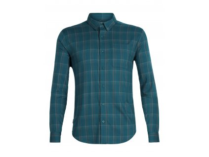 ICEBREAKER Mens Compass Flannel LS Shirt, POSEIDON/TIMBERWOLF/HYDRO PLAID