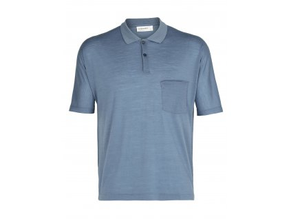 ICEBREAKER Mens Cool-Lite SS Polo, Granite Blue (velikost XXL)