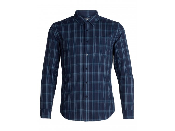 ICEBREAKER Mens Compass Flannel LS Shirt, DK NIGHT HTHR/GRANITE BLUE/Plaid  104141