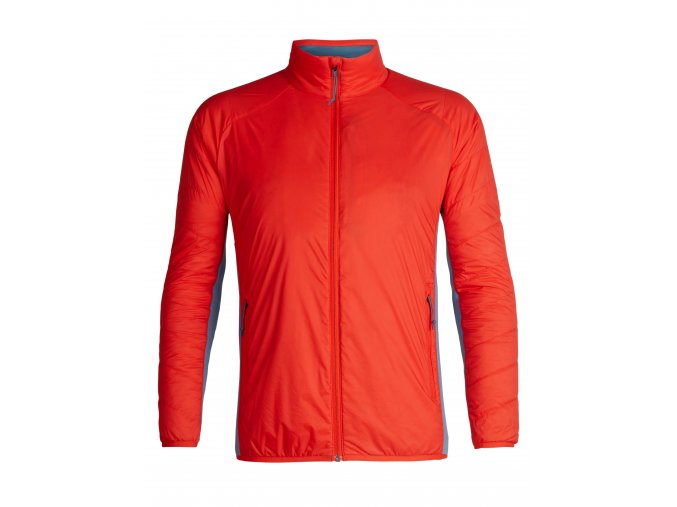 ICEBREAKER Mens Hyperia Lite Hybrid LS Zip, CHILI RED/GRANITE BLUE  104288