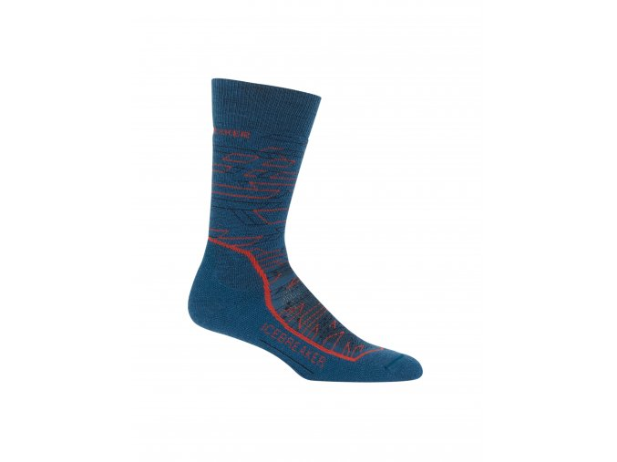 ICEBREAKER Mens Hike + Medium Crew Lava, PRUSSIAN BLUE/Midnight Navy/CHILI RED  104435