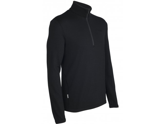 ICEBREAKER Mens Original LS Half Zip, Black  100871