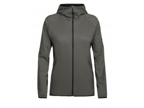 ICEBREAKER Wmns Coriolis Hooded Windbreaker, Metal/Black