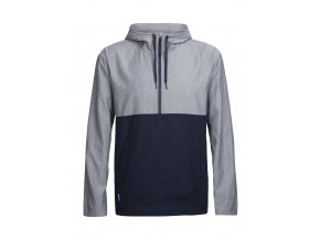 ICEBREAKER Mens Escape Hooded Pullover, Fathom HTHR/Midnight Navy