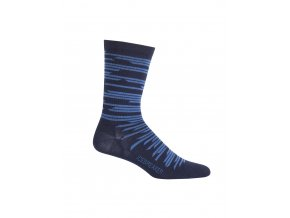 ICEBREAKER Mens Lifestyle Ultra Light Crew Zig Zag, Midnight Navy/SEA BLUE  104217