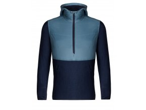ICEBREAKER Mens Descender Hybrid LS Half Zip Hood, GRANITE BLUE/DK NIGHT HTHR  104279