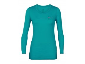 ICEBREAKER Wmns Tech Lite LS Low Crewe Skis in Snow, ARCTIC TEAL  104301