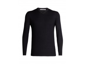 ICEBREAKER Mens Shearer V Sweater, Black  104327