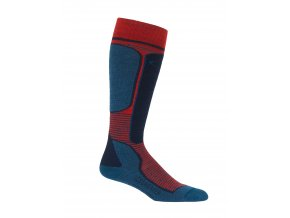 ICEBREAKER Mens Ski+ Light OTC, CHILI RED/PRUSSIAN BLUE/Midnight Navy  IBN704
