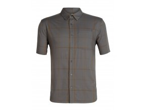 ICEBREAKER Mens Compass SS Shirt, TIMBERWOLF/Tobacco/Plaid