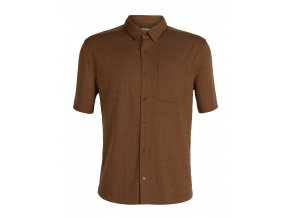 ICEBREAKER Mens Compass SS Shirt, Tobacco/Monsoon/DOBBY