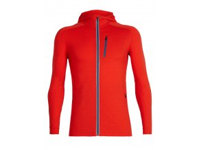 ICEBREAKER Mens Quantum LS Zip Hood, CHILI RED/Thunder