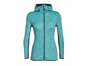 ICEBREAKER Wmns Away LS Zip Hood Showers, Ocean/Monsoon