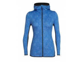 ICEBREAKER Wmns Away LS Zip Hood Showers, Cove/Monsoon