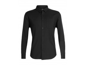 ICEBREAKER Mens Compass Flannel LS Shirt, Black