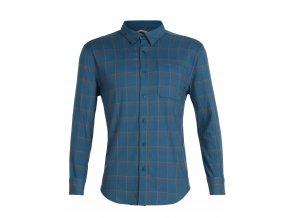 ICEBREAKER Mens Compass Flannel LS Shirt, Thunder/TIMBERWOLF/HYDRO PLAID
