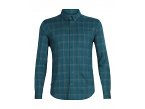 ICEBREAKER Mens Compass Flannel LS Shirt, POSEIDON/TIMBERWOLF/HYDRO PLAID