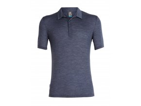 ICEBREAKER Mens Solace SS Polo, Midnight Navy Hthr