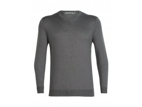 ICEBREAKER Mens Quailburn V Sweater, TIMBERWOLF