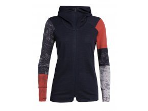 ICEBREAKER Wmns Away II LS Zip Hood, Midnight Navy/Fire (velikost XS)