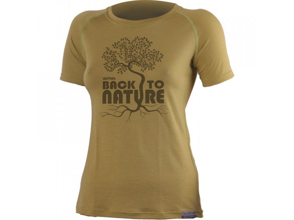 Lasting dámské merino triko s tiskem BACK pískové