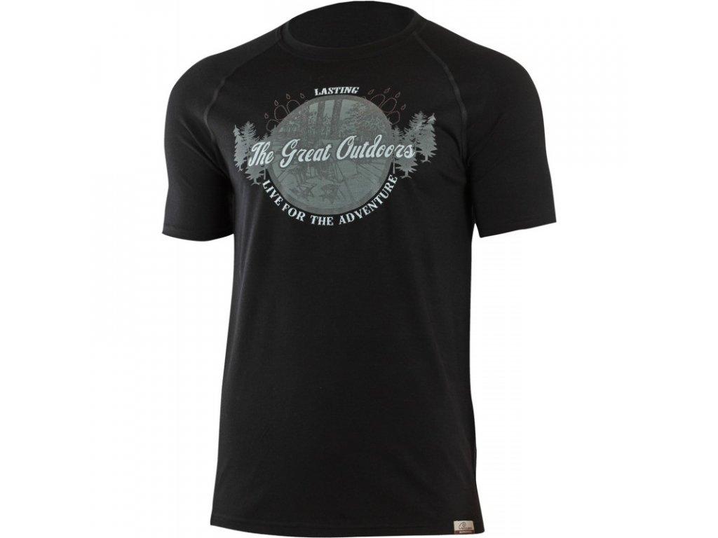 Lasting pánské merino triko s tiskem LUCAS černé