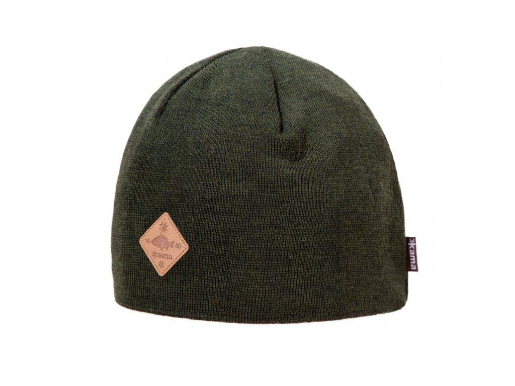 Pletená čepice Kama LA01, barva zelená