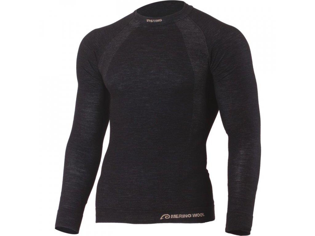 Lasting pánské merino bezešvé triko WAPOL černé