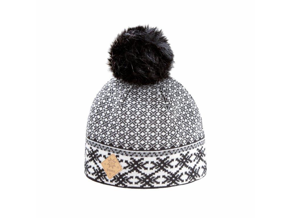 Pletená čepice Kama A119, barva černá