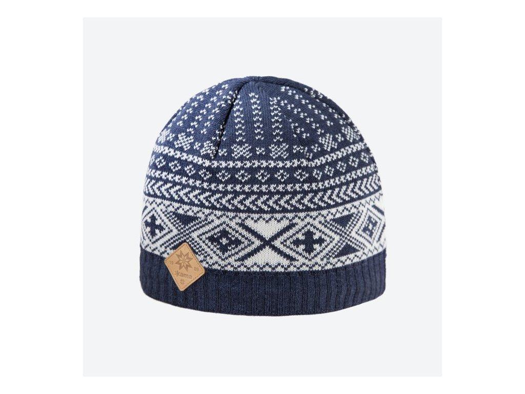 Pletená Merino čepice Kama A117, modrá