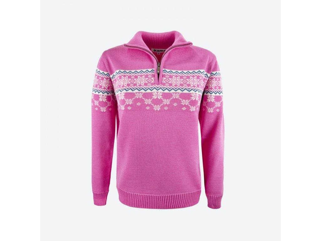 Merino svetr Kama 5007 dámský, růžová