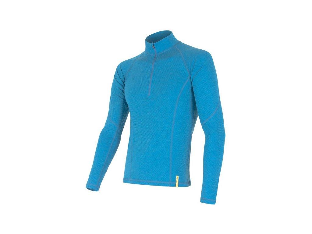 SENSOR MERINO DF pánské triko dl.rukáv zip modrá