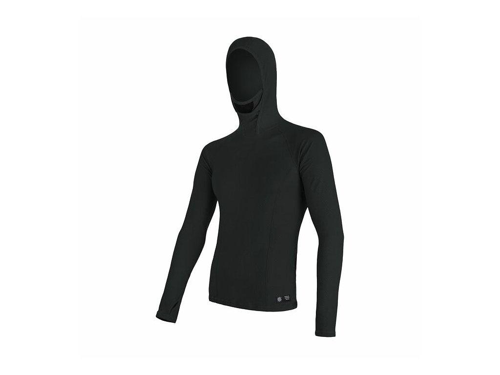 SENSOR MERINO DF pánské triko dl.rukáv s kapucí černá
