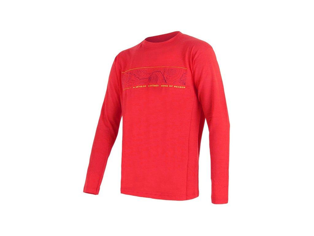 SENSOR MERINO ACTIVE PT GPS pánské triko dl.rukáv červená