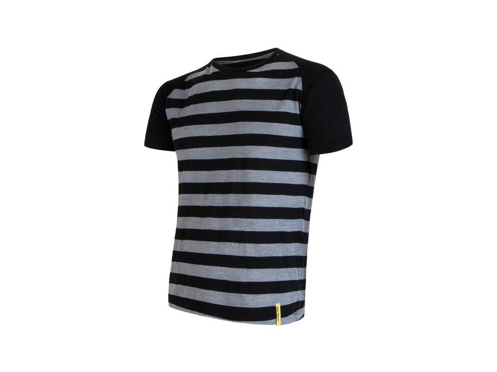 SENSOR MERINO ACTIVE pánské tričko s pruhy černé