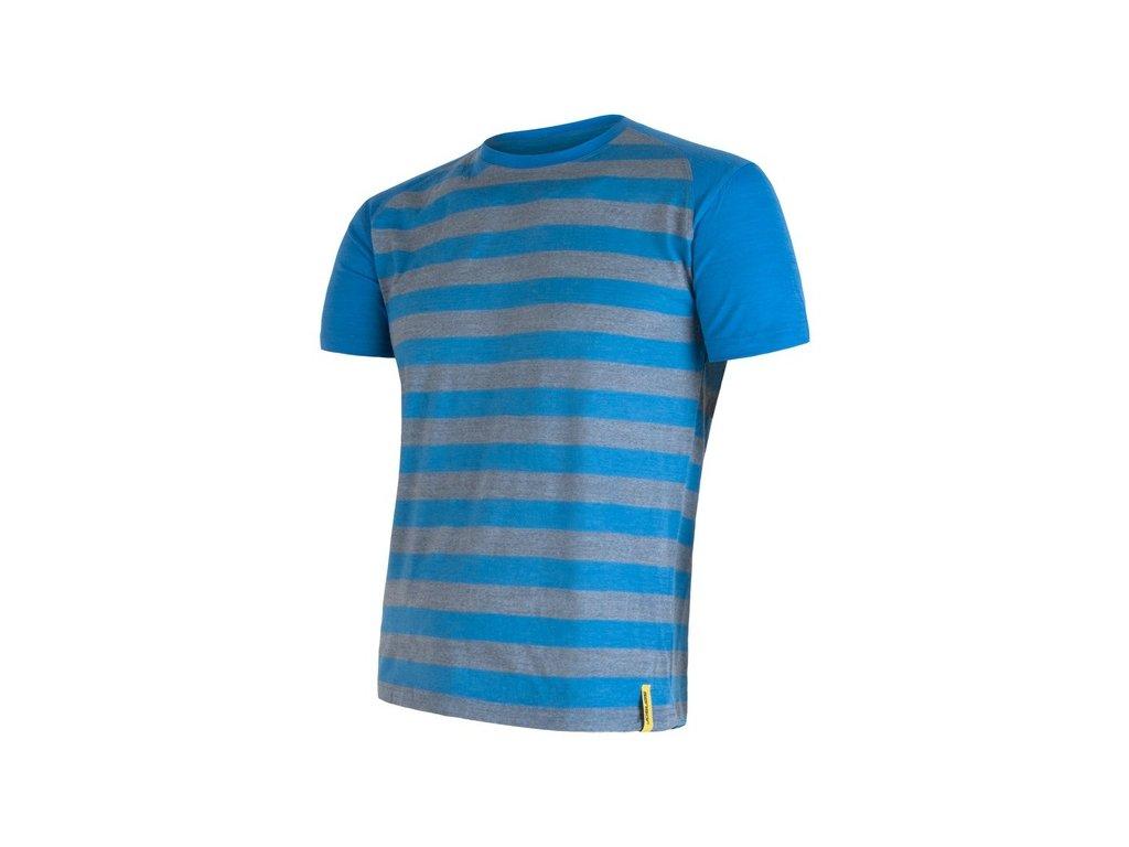 SENSOR MERINO ACTIVE pánské tričko s pruhy modré