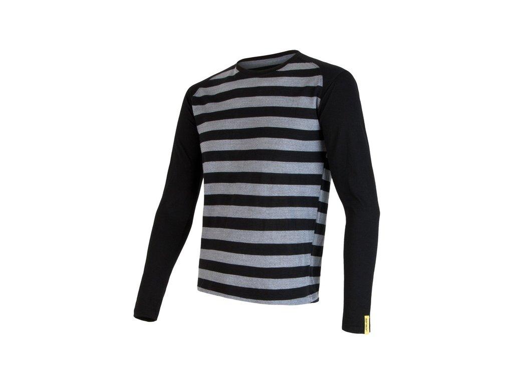 SENSOR MERINO ACTIVE pánské triko s pruhy černé