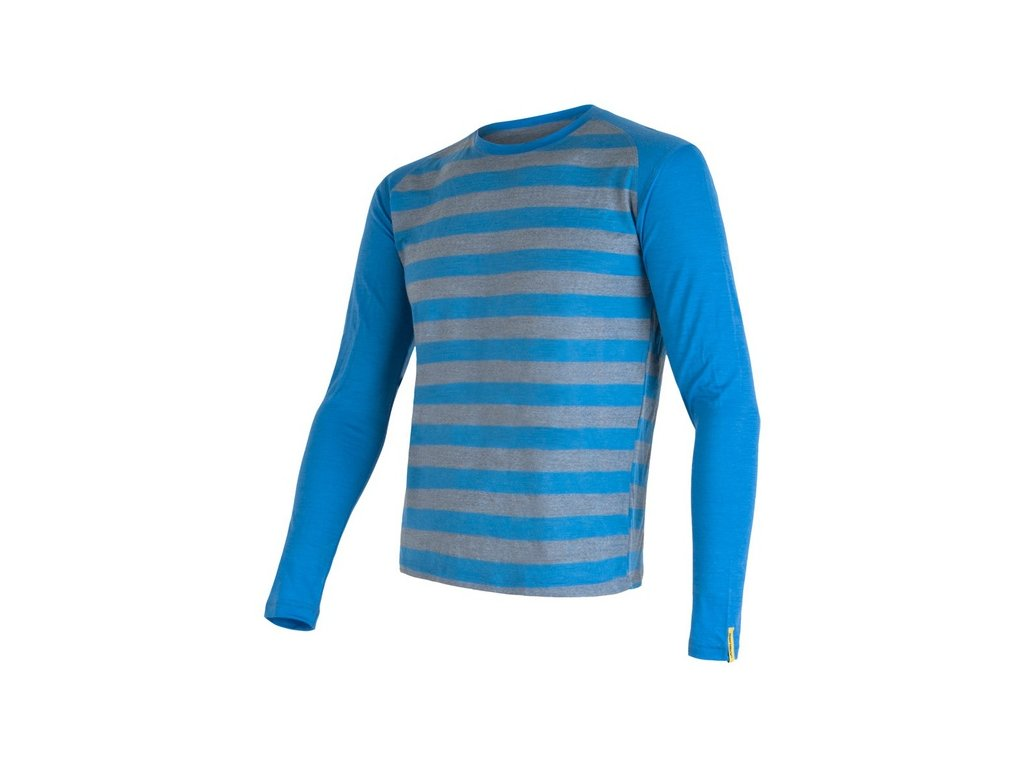 SENSOR MERINO ACTIVE pánské triko s pruhy modré