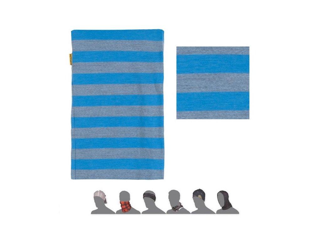 SENSOR TUBE MERINO WOOL multifunkční šátek pruhovaný modrý