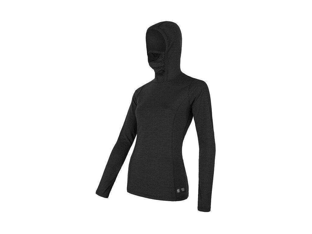 SENSOR MERINO DF dámské triko dl.rukáv s kapucí černá