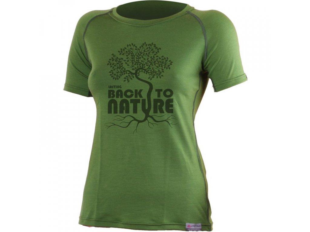 Lasting dámské merino triko s tiskem BACK zelené