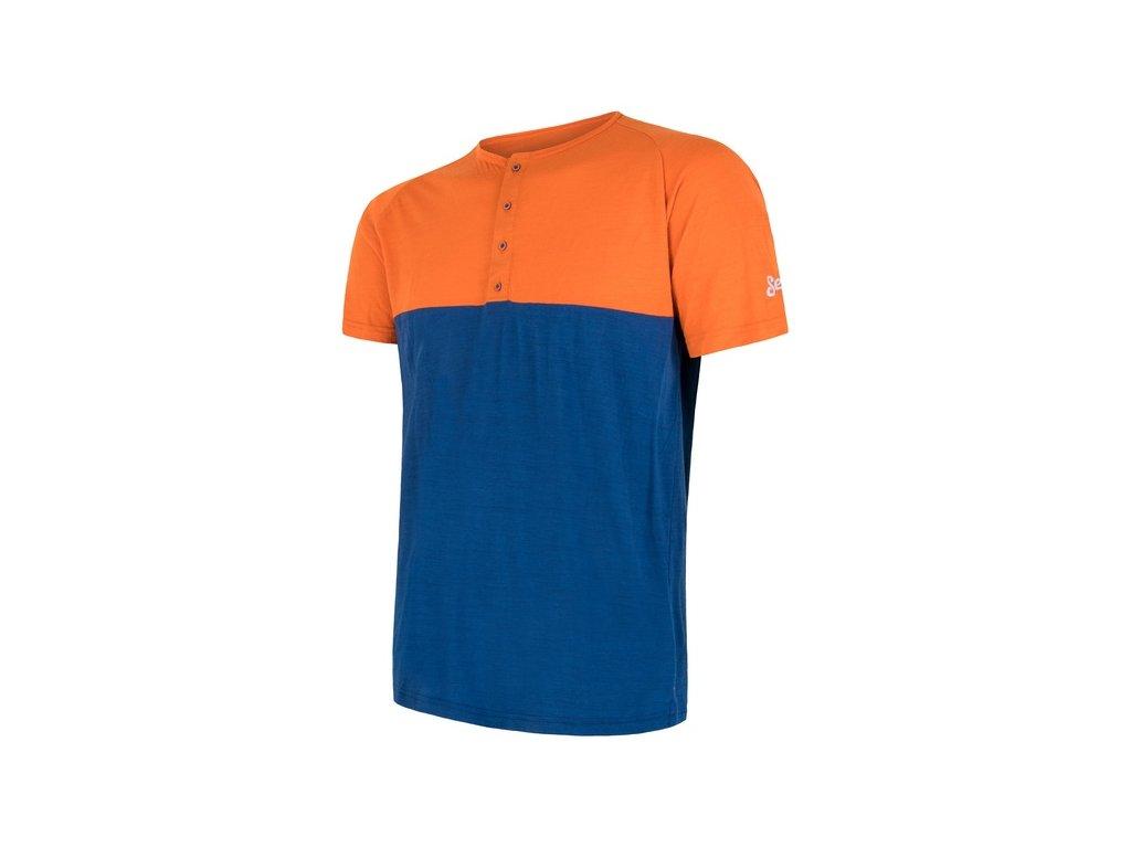 SENSOR MERINO AIR PT pánské triko kr.rukáv s knoflíky oranžová/modrá