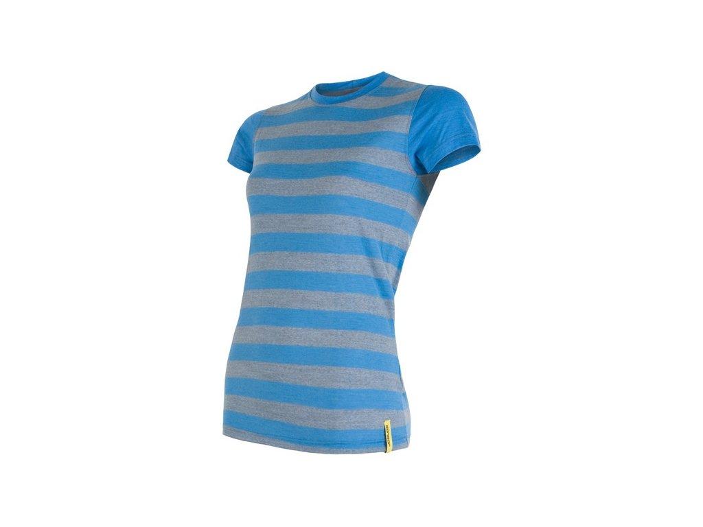 SENSOR MERINO ACTIVE dámské tričko s pruhy modré