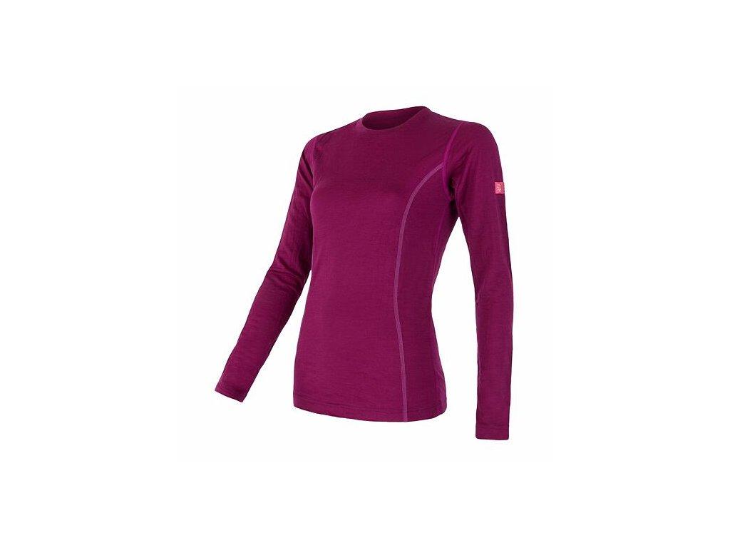 SENSOR MERINO ACTIVE dámské triko dl.rukáv lilla