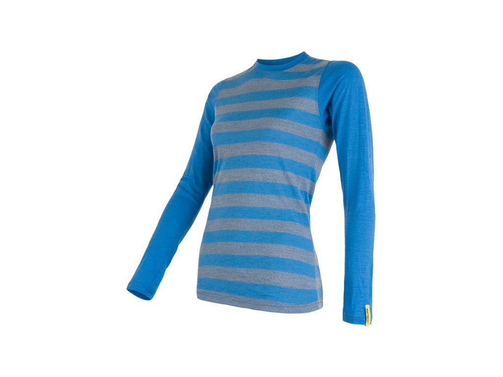 SENSOR MERINO ACTIVE dámské triko s pruhy modré
